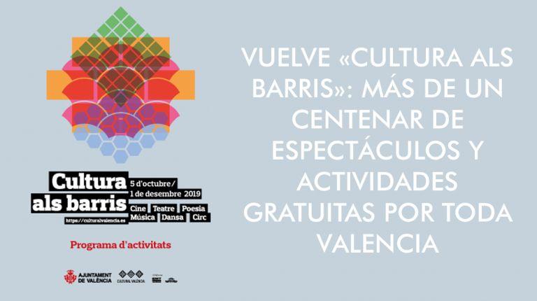 VUELVE «CULTURA ALS BARRIS»: MÁS DE UN CENTENAR DE ESPECTÁCULOS Y ACTIVIDADES GRATUITAS POR TODA VALENCIA