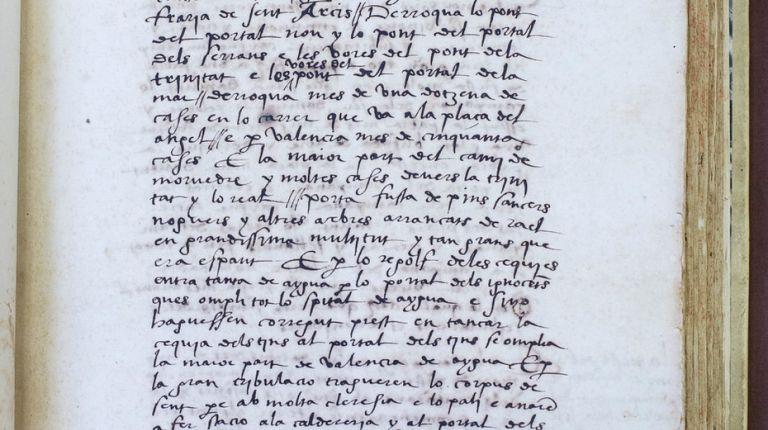 La mayor riada en la ciudad de Valencia ocurrió hace hoy 500 años y fue relatada por un cronista sacerdote