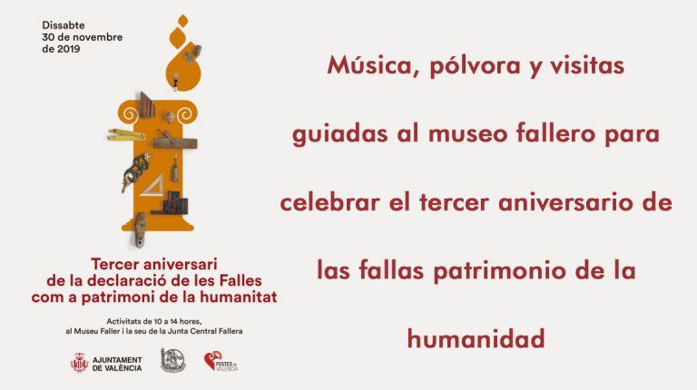 Música, pólvora y visitas guiadas al museo fallero para celebrar el tercer aniversario de las fallas patrimonio de la humanidad