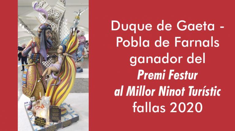 La Falla Duque de Gaeta – Puebla de Farnals  ganadora del PREMI FESTUR AL MILLOR NINOT TURÍSTIC 2020