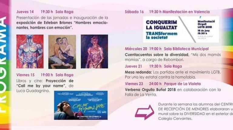 Buñol organiza las II Jornadas LGTB clamando la aprobación de una ley contra la homofobia
