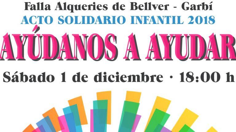 El acto solidario infantil 2018 de la falla Alqueries de Bellver Garbí irá destinado a Avapace